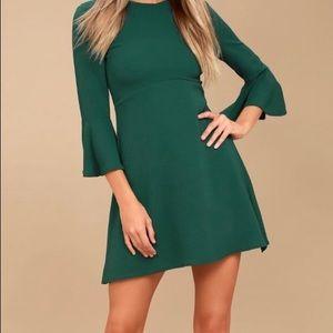 Forest Green Flounce Sleeve Dress